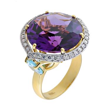 кольцо c аметистом из желтого золота 14199000