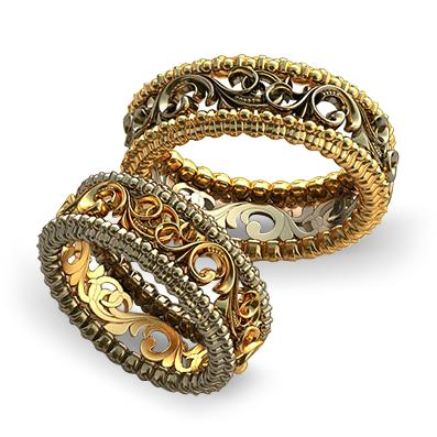 Ажурное обручальное кольцо из желтого золота dg_ring_020