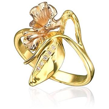Кольцо 'ГОРНАЯ ЛАВАНДА' из желтого золота К-14027