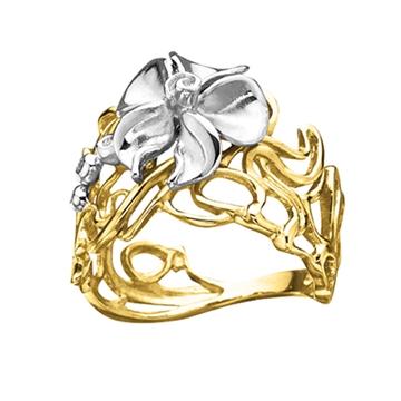 Кольцо 'ЛЕСНАЯ НИМФА' из желтого золота К-14049