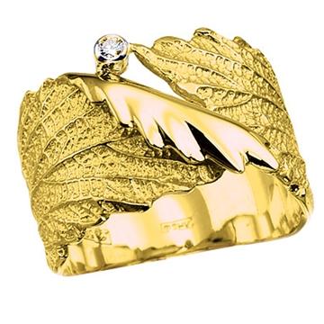 Кольцо 'ЛИСТОК' из желтого золота К-14028