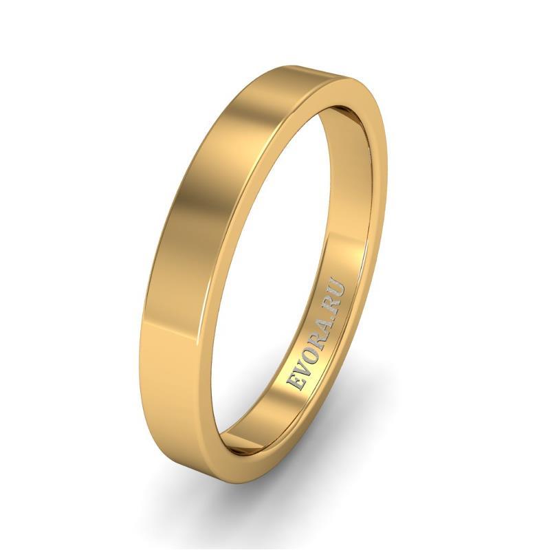 Кольцо обручальное классическое 750 пробы шириной 3 мм из желтого золота W137Y