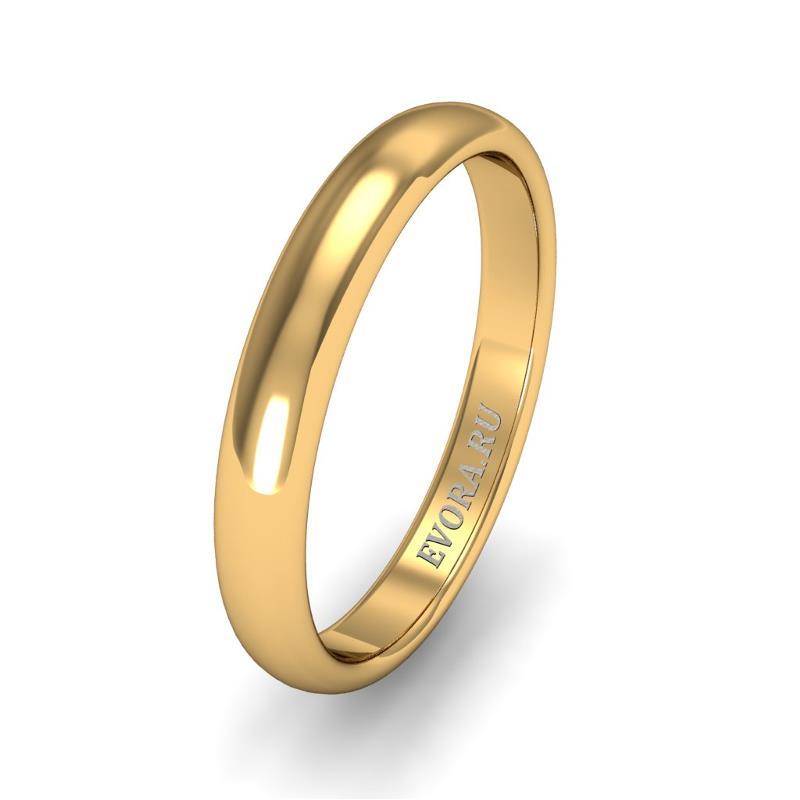 Кольцо обручальное классическое 750 пробы шириной 3 мм из желтого золота W237Y