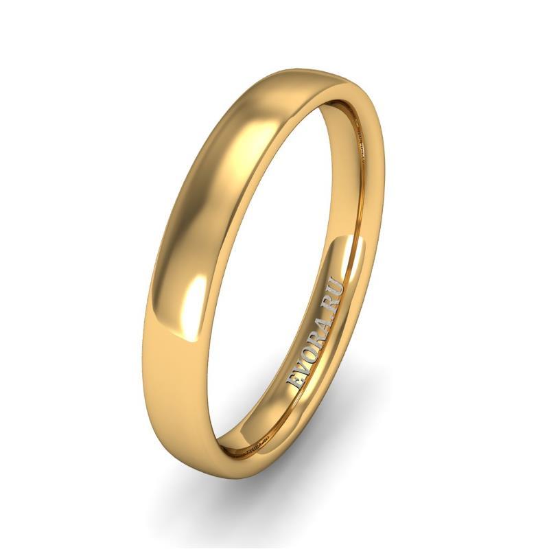 Кольцо обручальное классическое 750 пробы шириной 3 мм из желтого золота W437Y