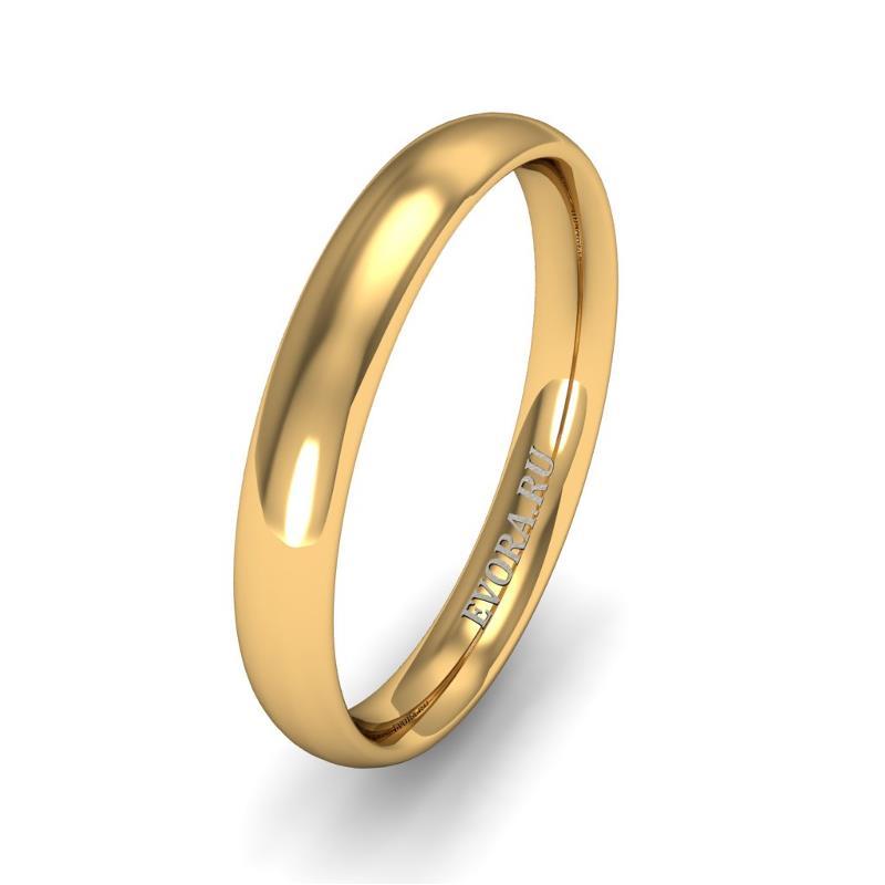 Кольцо обручальное классическое 750 пробы шириной 3 мм из желтого золота W637Y