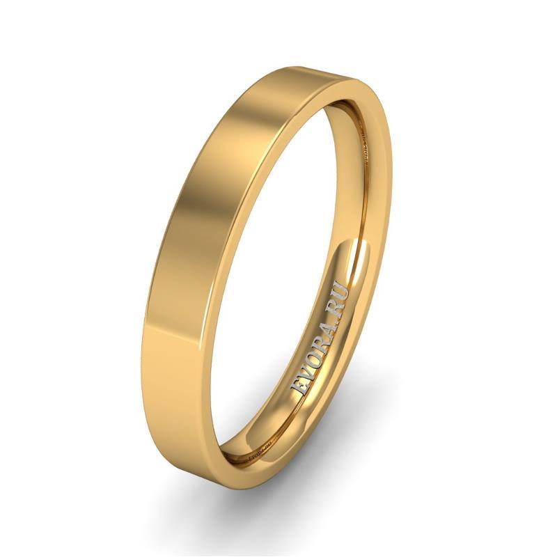 Кольцо обручальное классическое 750 пробы шириной 3 мм из желтого золота W737Y