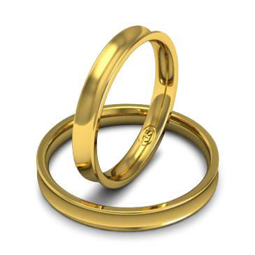 Кольцо обручальное классическое 750 пробы шириной 3 мм из желтого золота W837Y