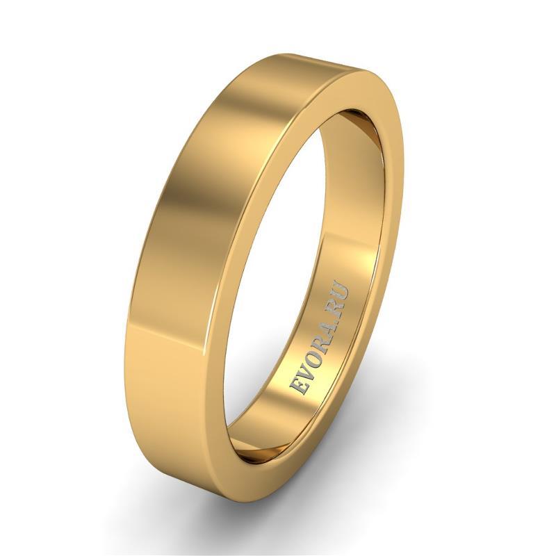 Кольцо обручальное классическое 750 пробы шириной 4 мм из желтого золота W147Y