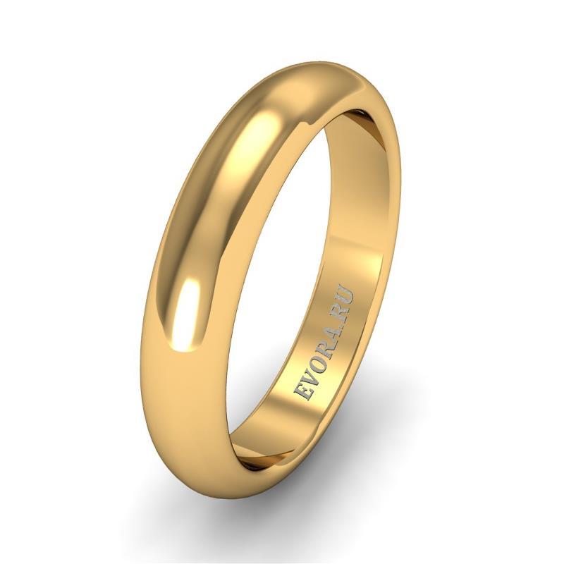Кольцо обручальное классическое 750 пробы шириной 4 мм из желтого золота W247Y