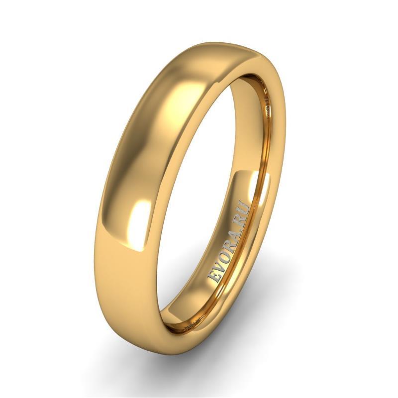 Кольцо обручальное классическое 750 пробы шириной 4 мм из желтого золота W347Y