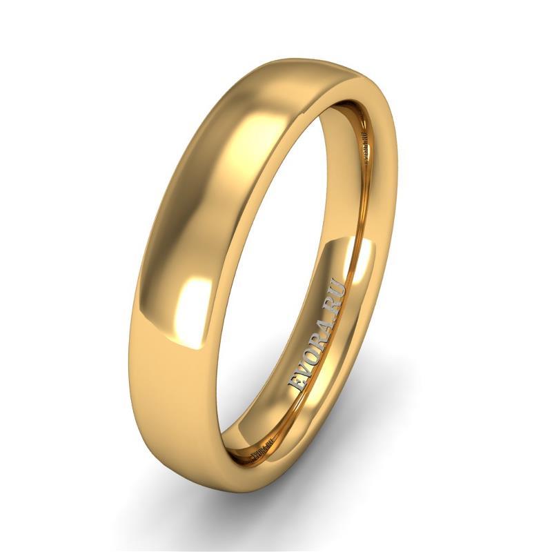 Кольцо обручальное классическое 750 пробы шириной 4 мм из желтого золота W447Y от EVORA
