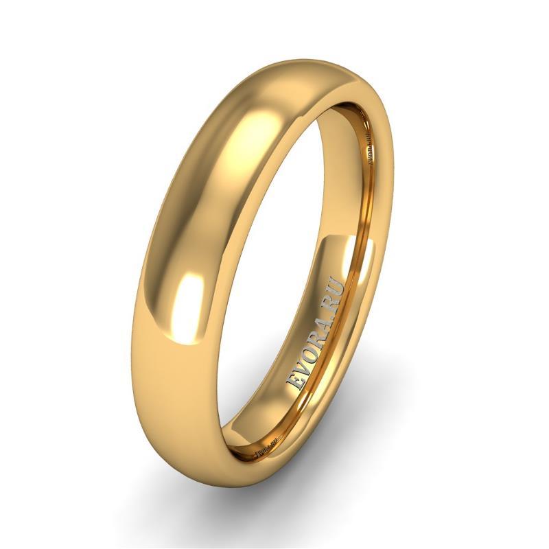Кольцо обручальное классическое 750 пробы шириной 4 мм из желтого золота W547Y