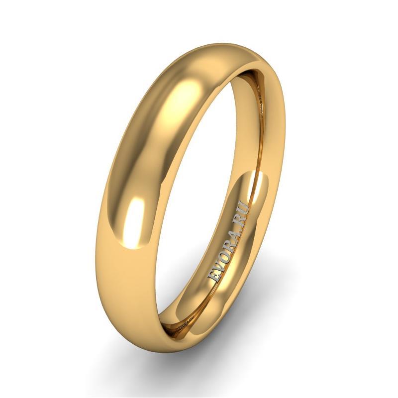 Кольцо обручальное классическое 750 пробы шириной 4 мм из желтого золота W647Y