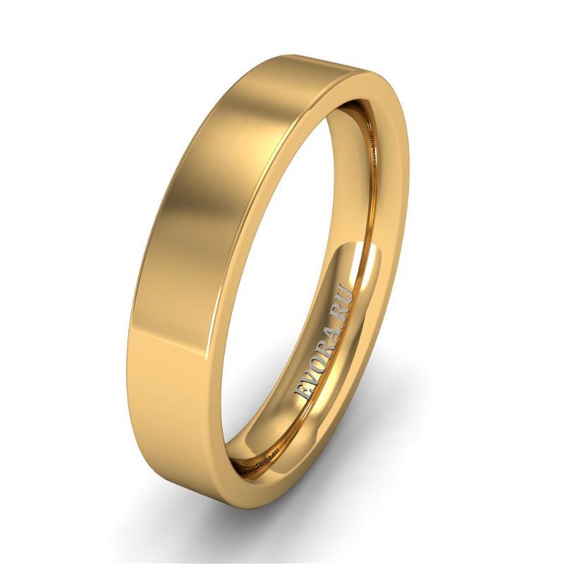 Кольцо обручальное классическое 750 пробы шириной 4 мм из желтого золота W747Y