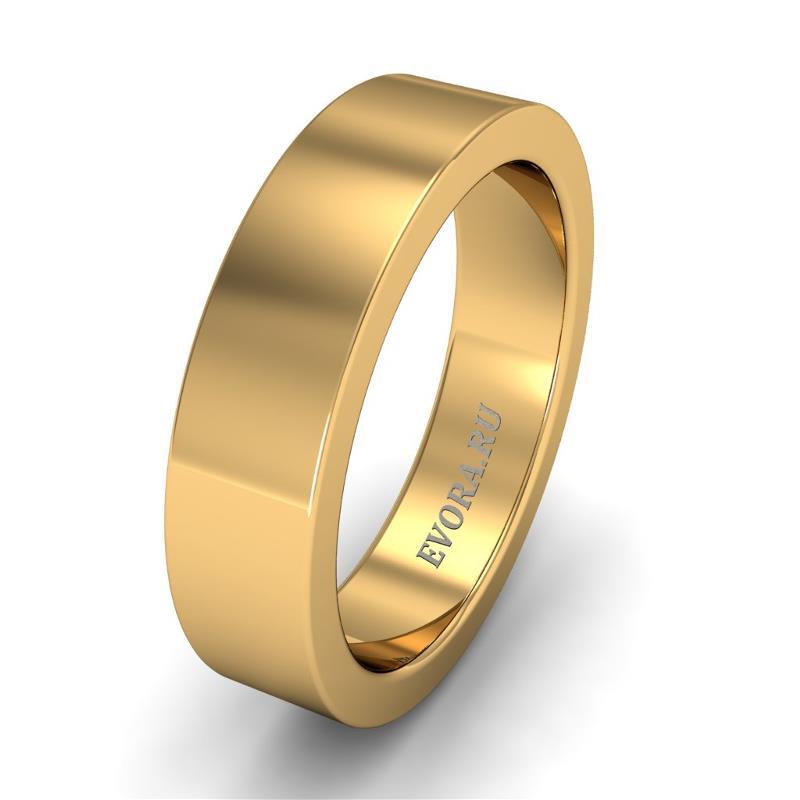 Кольцо обручальное классическое 750 пробы шириной 5 мм из желтого золота W157Y