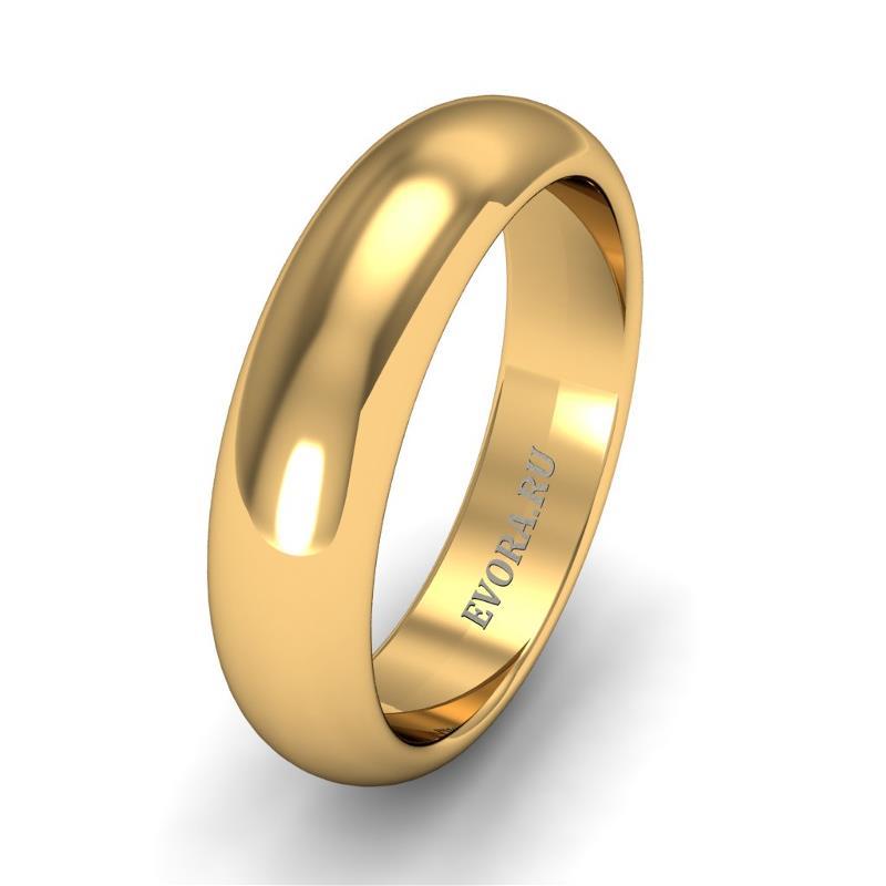 Кольцо обручальное классическое 750 пробы шириной 5 мм из желтого золота W257Y