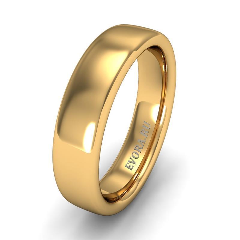 Кольцо обручальное классическое 750 пробы шириной 5 мм из желтого золота W357Y