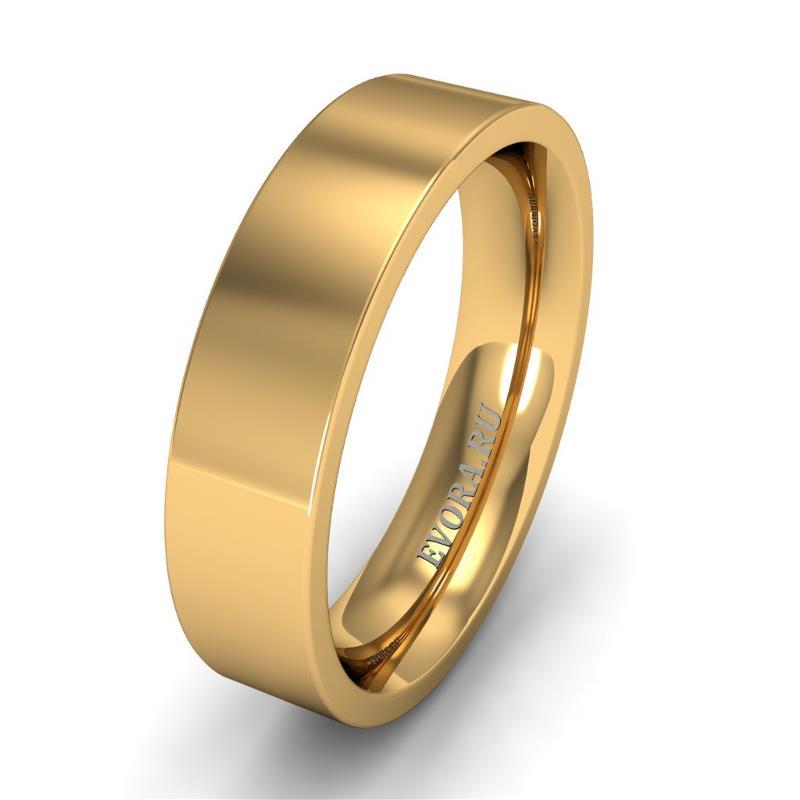Кольцо обручальное классическое 750 пробы шириной 5 мм из желтого золота W757Y