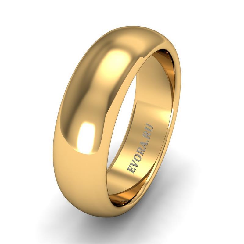 Кольцо обручальное классическое 750 пробы шириной 6 мм из желтого золота W267Y