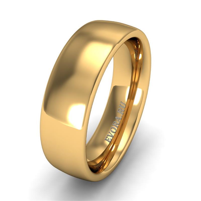 Кольцо обручальное классическое 750 пробы шириной 6 мм из желтого золота W467Y