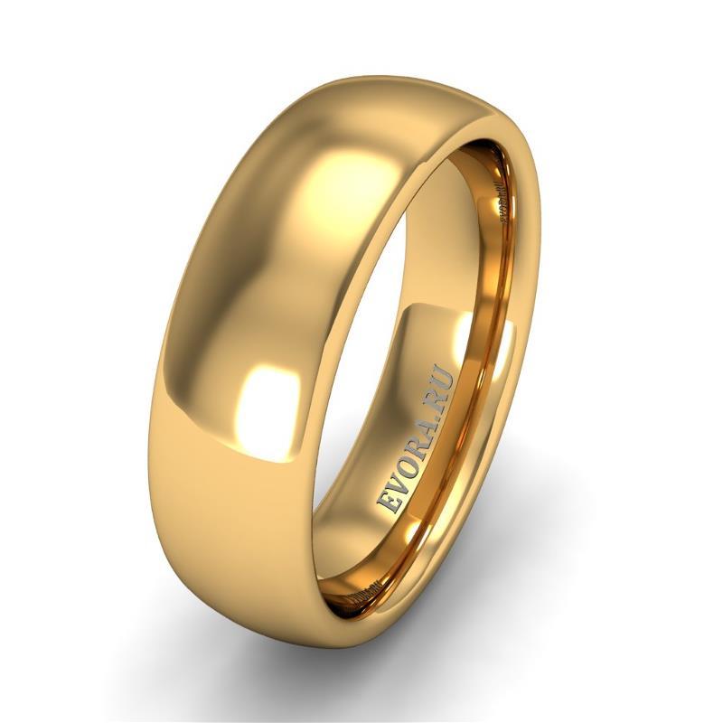 Кольцо обручальное классическое 750 пробы шириной 6 мм из желтого золота W567Y