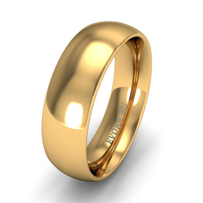 Кольцо обручальное классическое 750 пробы шириной 6 мм из желтого золота W667Y
