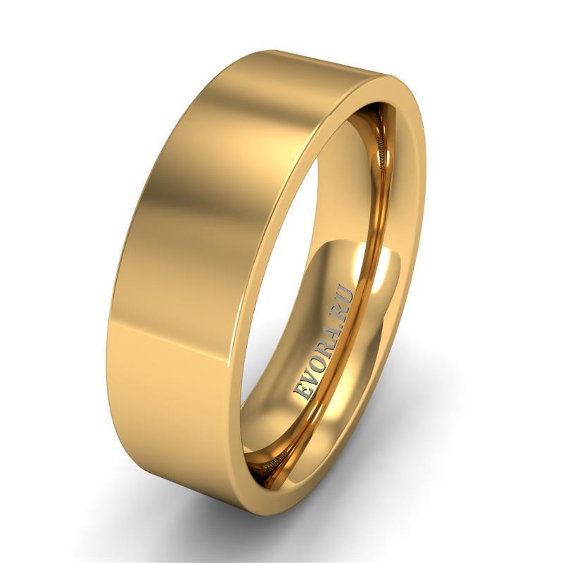 Кольцо обручальное классическое 750 пробы шириной 6 мм из желтого золота W767Y