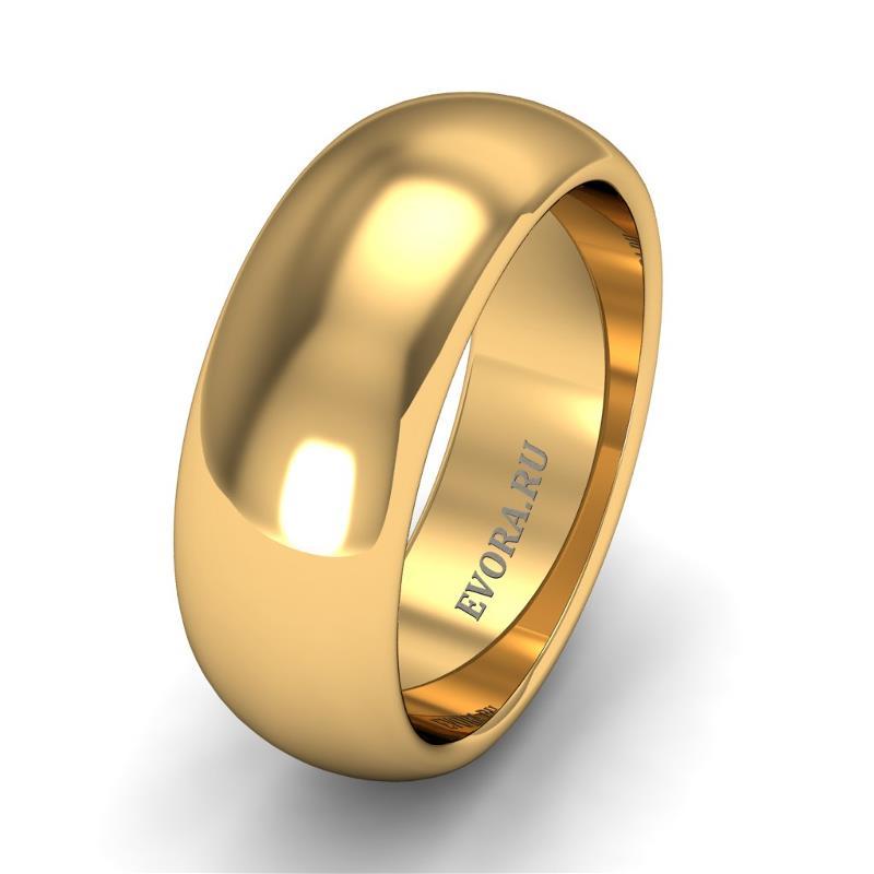 Кольцо обручальное классическое 750 пробы шириной 7 мм из желтого золота W277Y