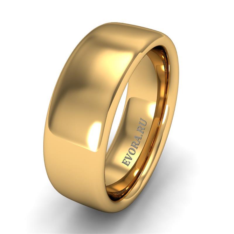 Кольцо обручальное классическое 750 пробы шириной 7 мм из желтого золота W377Y
