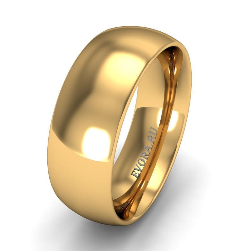Кольцо обручальное классическое 750 пробы шириной 7 мм из желтого золота W677Y
