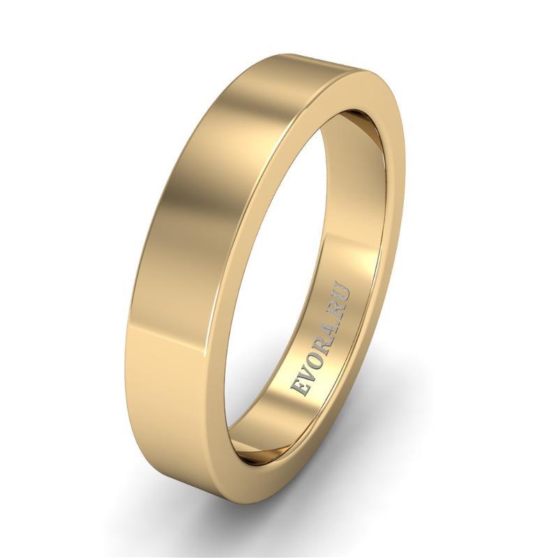 Кольцо обручальное классическое шириной 4 мм из желтого золота W145Y