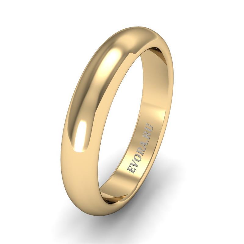 Кольцо обручальное классическое шириной 4 мм из желтого золота W245Y