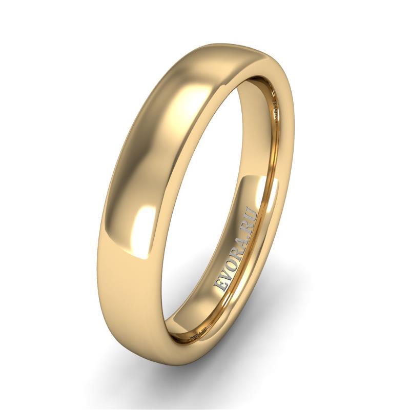 Кольцо обручальное классическое шириной 4 мм из желтого золота W345Y