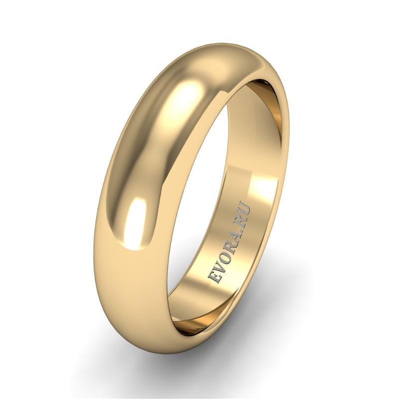 Кольцо обручальное классическое шириной 5 мм из желтого золота W255Y