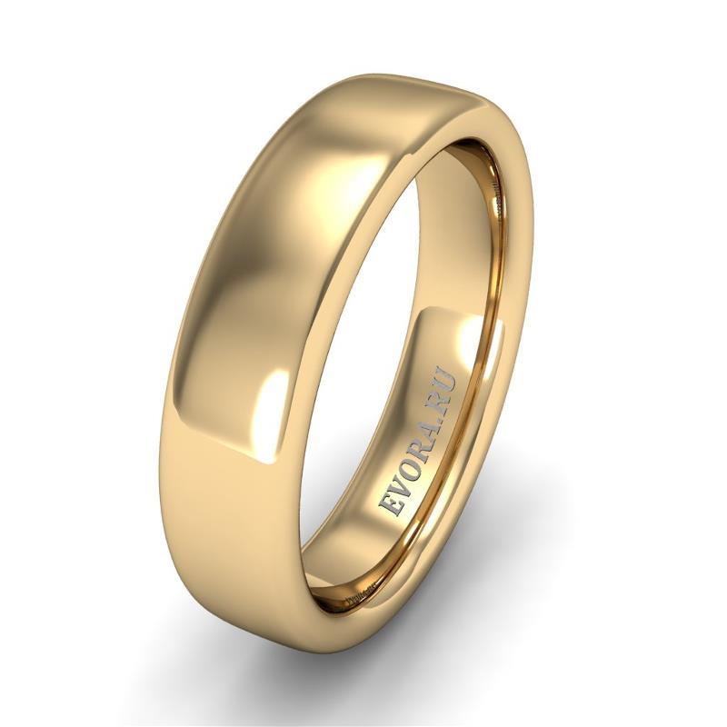 Кольцо обручальное классическое шириной 5 мм из желтого золота W355Y