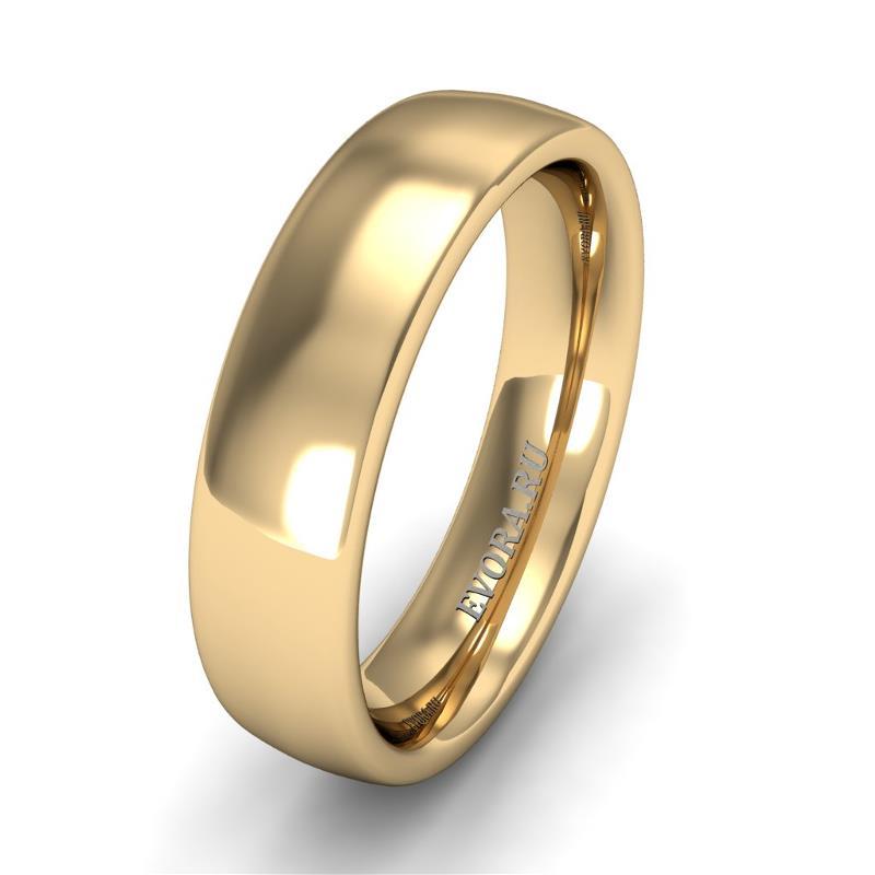 Кольцо обручальное классическое шириной 5 мм из желтого золота W455Y