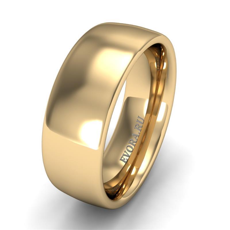 Кольцо обручальное классическое шириной 7 мм из желтого золота W475Y