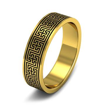 Кольцо обручальное с орнаментом из желтого золота WD104YD