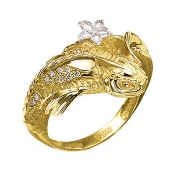 Кольцо 'ПОДВОДНОЕ ЦАРСТВО' из желтого золота К-24043