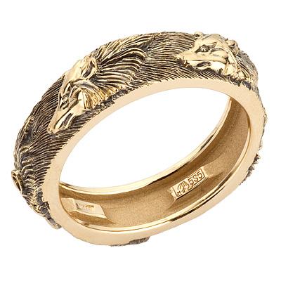 Кольцо волки из желтого золота