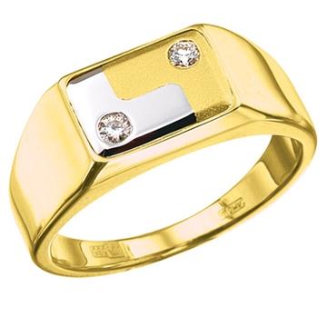 Мужское кольцо перстень 'РЕСПЕКТ' из желтого золота К-34006
