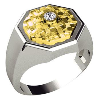 Мужское кольцо перстень 'ВОСЬМИГРАННИК' из желтого золота К-34008