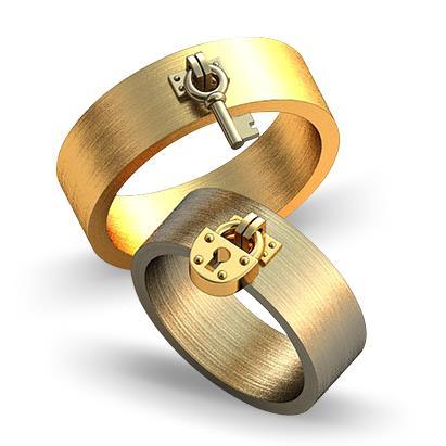 Обручальное кольцо с ключом и замком из желтого золота dg_ring_05