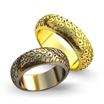 Обручальное кольцо в форме шины из желтого золота dg_ring_051
