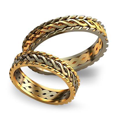 Плетеное обручальное кольцо из желтого золота dg_ring_030
