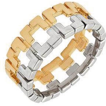 широкое кольцо из белого и из желтого золота 14001404
