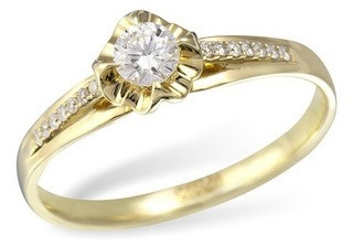 Кольцо  с бриллиантами из желтого золота KR02583YG от EVORA