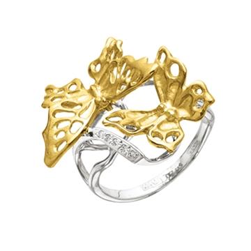 Кольцо 'БАБОЧКА АЖУРНАЯ' из желтого золота К-24024