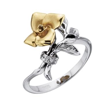 Кольцо 'БУКЕТ' из желтого золота К-14037