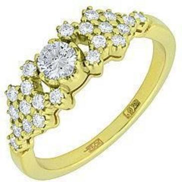 кольцо c бриллиантами из желтого золота 14032292